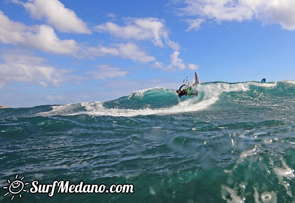 Wave kitesurfing with Mark Shinn and his Shinnster at El Cabezo in El Medano 24-11-2015