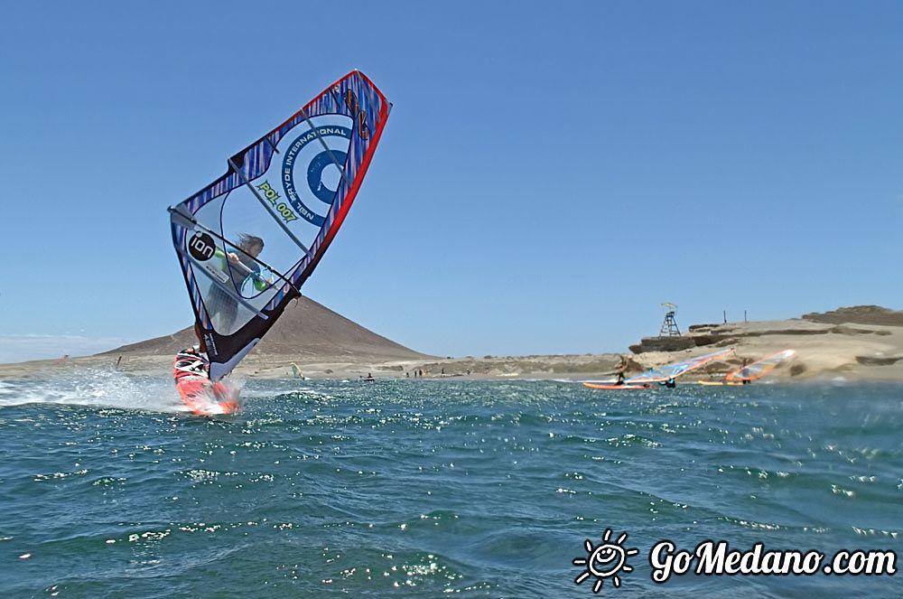 Windsurfing freestyle 3style at south wind in El Medano Tenerifee