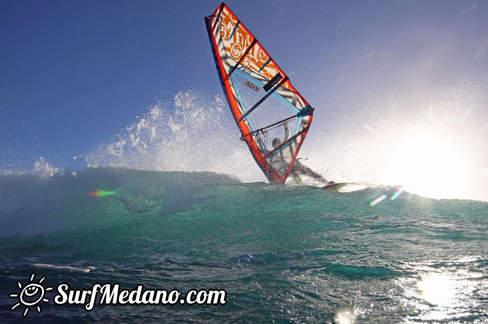 Sunrise wave windsurfing at EL Cabezo in El Medano Tenerife