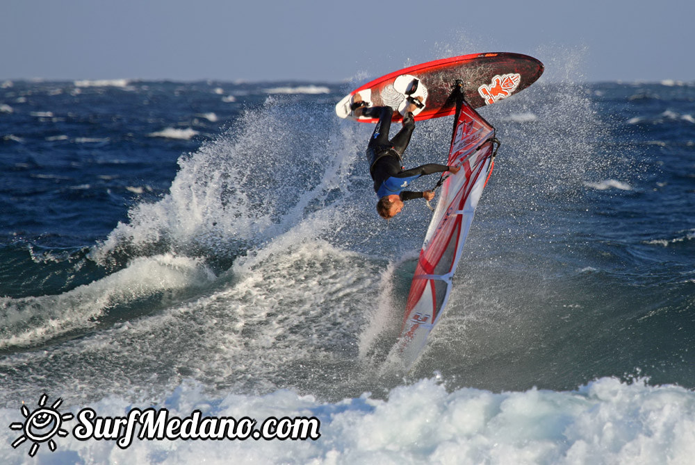 Wave riding at Cabezo in El Medano