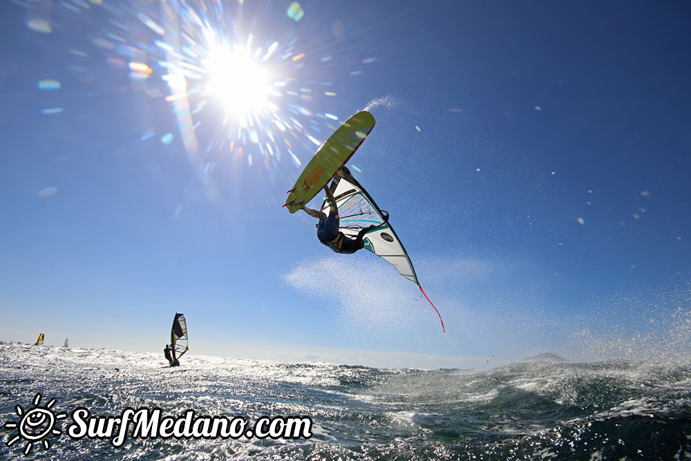 Wave windsurfing and back loop at El Cabezo in El Medano Tenerife