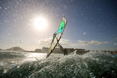 Wave windsurfing at El Cabezo in El Medano 16-02-2016