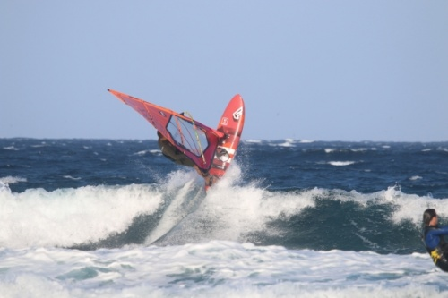Wave windsurfing at El Cabezo in El Medano Tenerife 26-04-2019