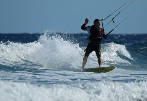 Windsurfing and kitesurfing at Muelle Harbour Wall in El Medano Tenerife 14-10-2013