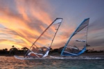 Windsurfing at evening and dusk