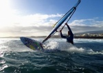 Windsurfing at Harbour Wall  Muelle in El Medano Tenerife 25-02-2014