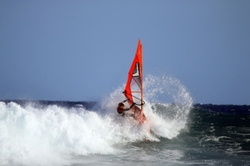 Windsurfing at south swell at Harbour Wall in El Medano Tenerife 25-04-2016