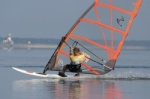 Windsurfing planing on totally flat water
